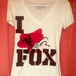 """Women's white """" I heart Fox Moto"""" v-neck t-shirt"""